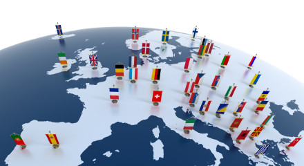 european countries - continent marked with flags